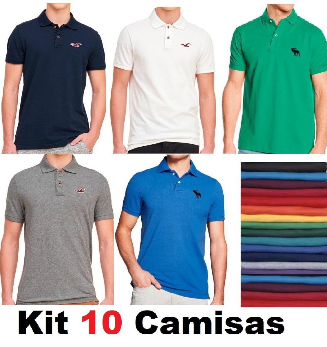 Kit Com 10 Camisas Gola Polo Masculinas Baratas Em Atacado - R  178 ... 08f52df734b2f
