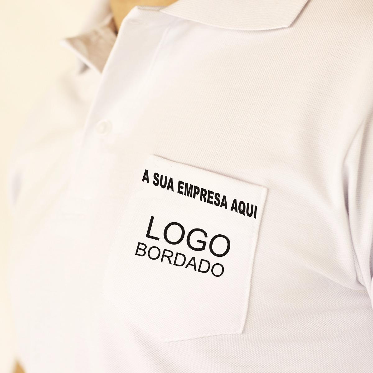 Kit Com 10 Camisas Polo Logo Bordado No Bolso Personalizada - R  490 ... 01f8a09c97706