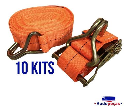 kit com 10 catraca + 10 cinta amarração 1,5 t 9m com rabicho