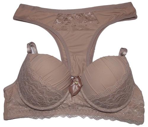 kit com 10 conjuntos de lingerie super luxo c/ bojo