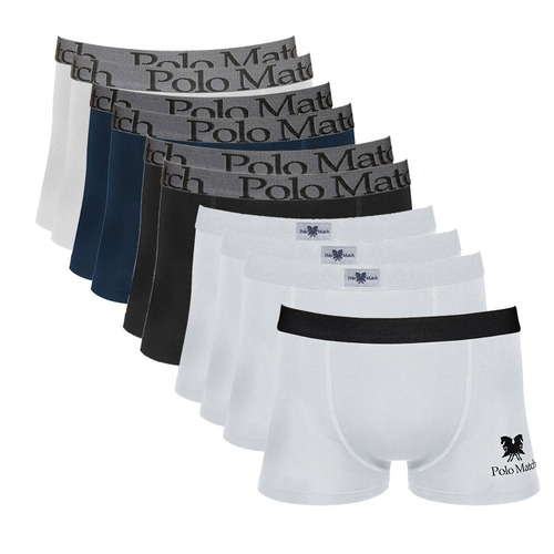 kit com 10 cuecas boxer de cotton - polo match