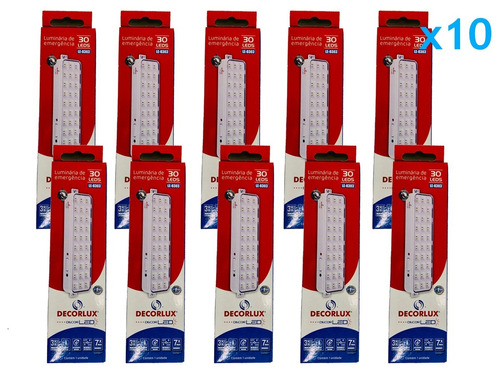 kit com 10 luminária de emergência 30 leds bivolt decorlux