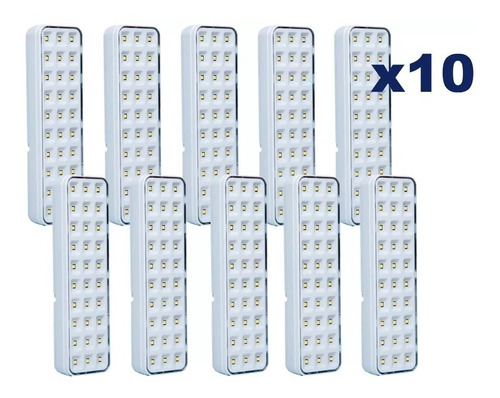 kit com 10 luminária luz emergência 30 leds bivolt + nfe
