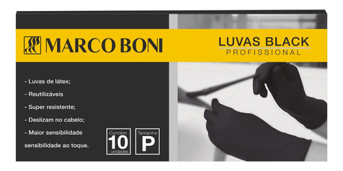 kit com 10 luvas tam. p black profissional latex marco boni