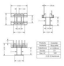kit com 10 peças carretel e20. 10 terminais vertical. p/ ferrite ee 20/10/5