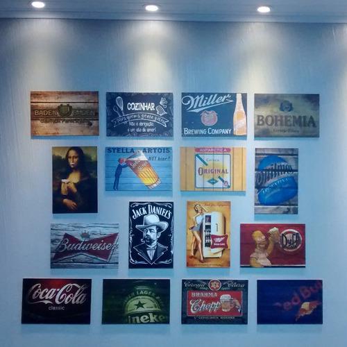 kit com 10 placas decorativas mdf - 30x20cm - retrô bebidas