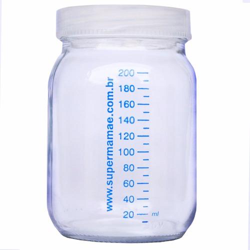 kit com 10 potes de vidro p leite materno c/ graduação 200ml