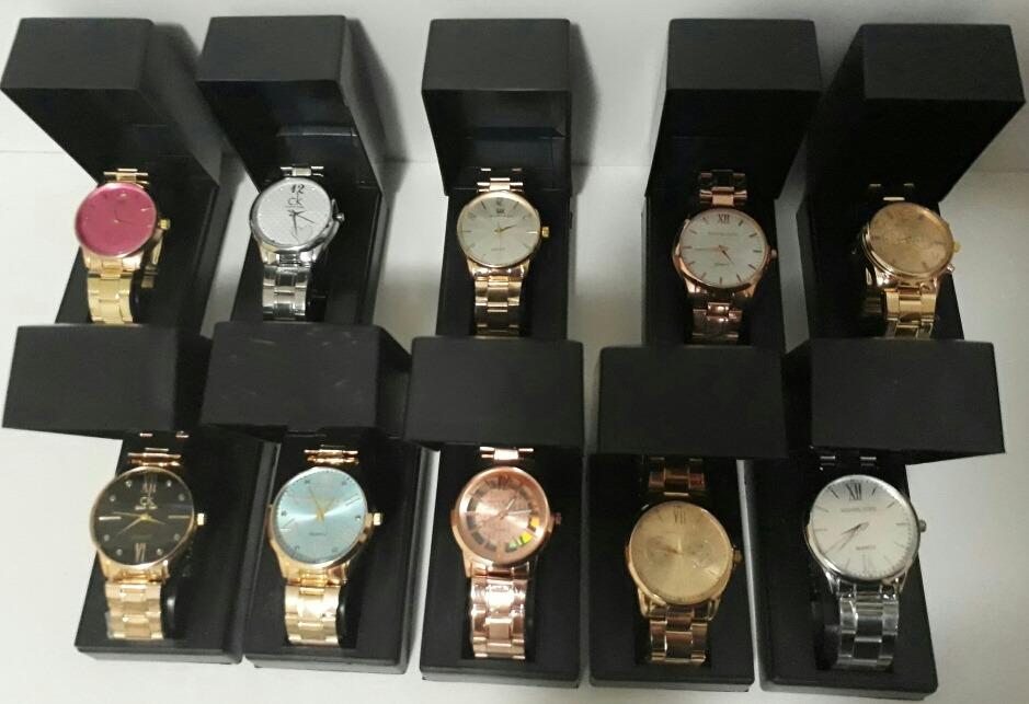 2e69157fe33 Kit Com 10 Relógios Feminino + Caixa Preta Atacado - R  199