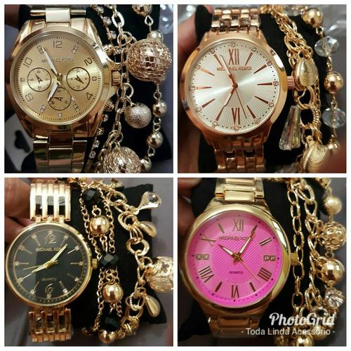 kit com 10 relógios feminino dourado+caixas+pulseira atacado