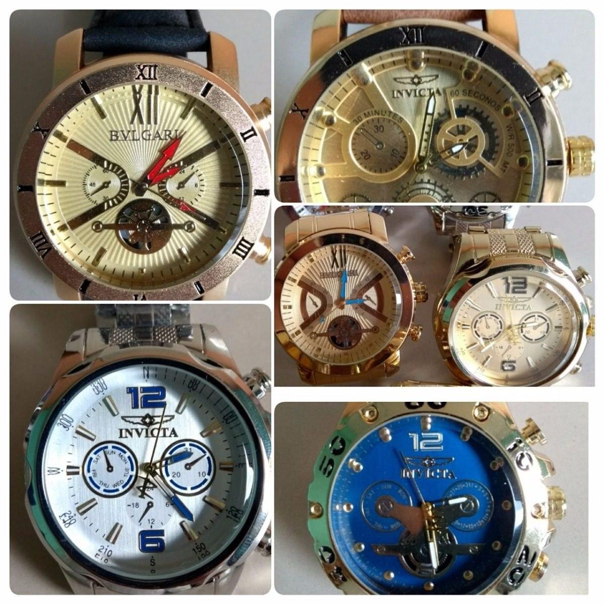 0a5350c55f1 kit com 10 relógios masculino dourado e prata atacado lote. Carregando zoom.