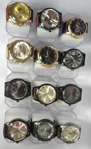 kit com 10 relógios masculino pulseira de couro + caixa