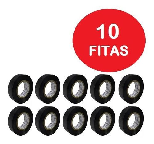 kit com 10 rolos - fita isolante 10 mts x 19 mm anti chama