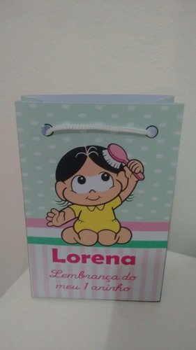 kit com 10 sacolinhas personalizadas magali baby
