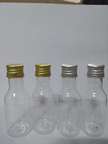 kit com 100 mini garrafinhas pvc 50 ml com tampa metal