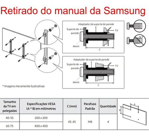 kit com 100 parafusos parafuso m8x45 ( m8x45mm ) tv samsung