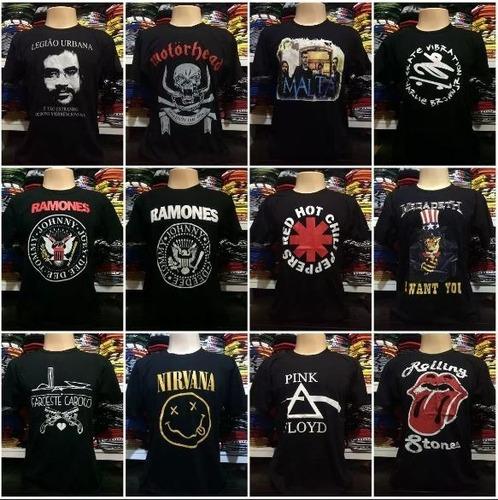 kit com 11 camisetas - bandas de rock - atacado frete grátis