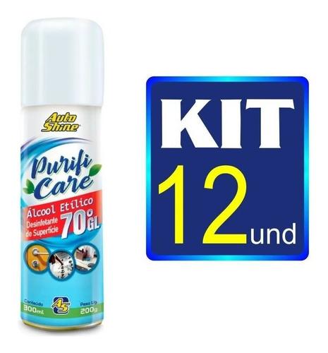 kit com 12 álcool 70 spray 300ml purifi care autoshine