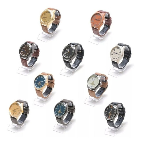 kit com 12 relógios masculino pulseira de couro atacado top