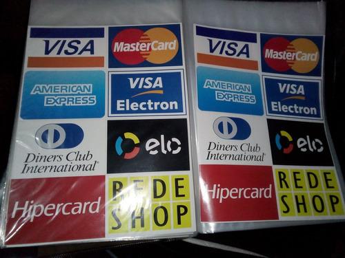 kit com 15 adesivos dos cartões de crédito e débito