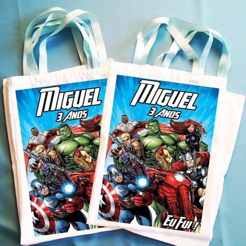 kit com 15 bolsinhas ecobag sacolinha heróis vingadores