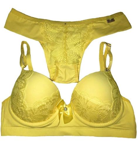 kit com 15 conjuntos de lingerie super luxo c/ bojo
