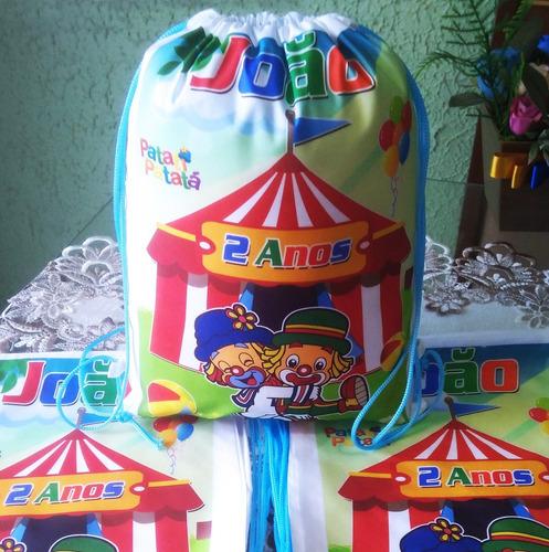 kit com 15 mochilinhas ecobag sacochila circo patati patatá