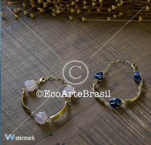 kit com 15 pulseiras em capim dourado com pedras brasileiras