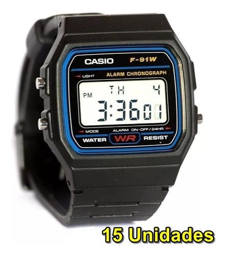 kit com 15 relógios digital f-91w retrô vintage atacado!
