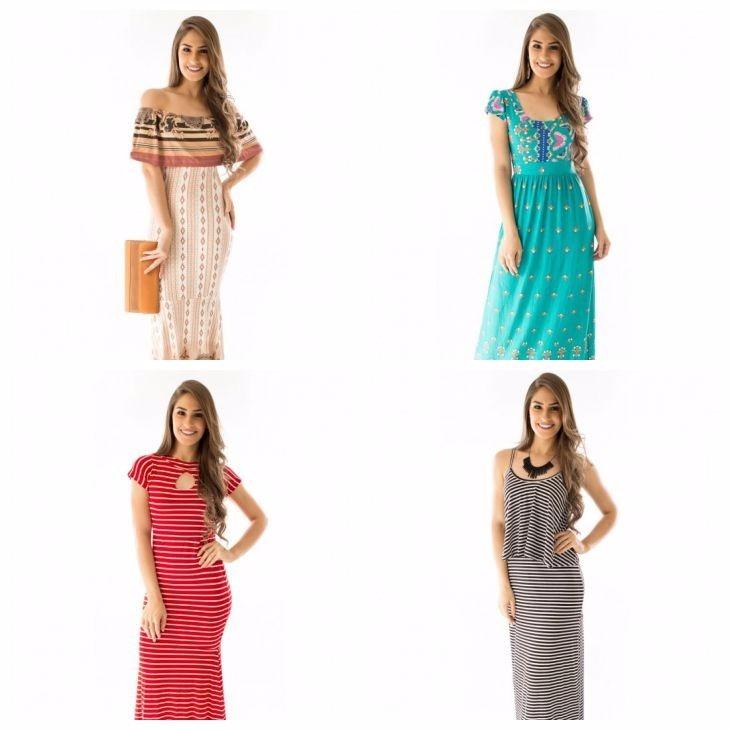 9bf3f1866 Kit Com 15 Vestidos Longos Moda Evangélica Atacado Revenda - R$ 629 ...