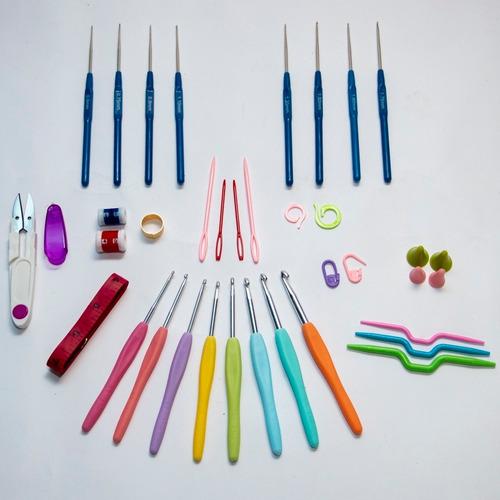 kit com 16 agulhas de crochê + acessórios + estojo