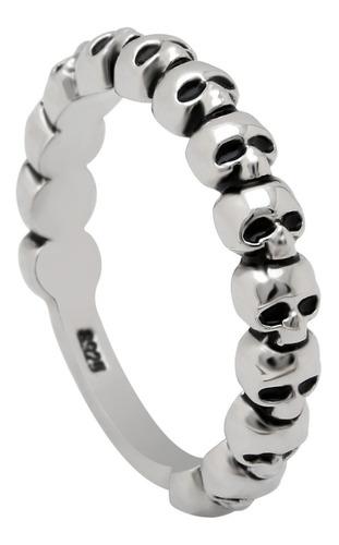 kit com 2 aneis crânio de prata