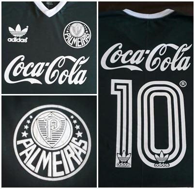 kit com 2 camisas infantil palmeiras década de 80 coca verde