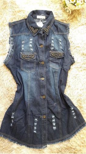 kit com 2 colete  jeans   feminino  comprido   com perola