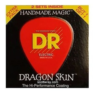 kit com 2 encordoamentos dr dragon skin guitarra .009/.042
