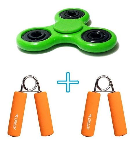 kit com 2 handgrip laranja 1 par + 1 spiner verde tres ponta