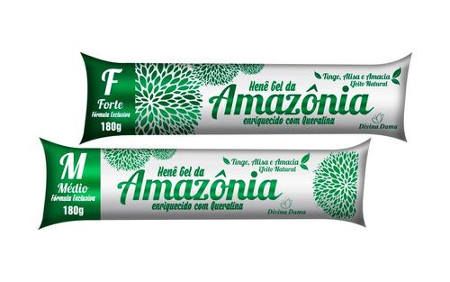 kit com 2 henê gel da amazônia preto médio de 180g bisnaga