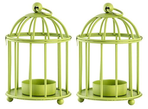 kit com 2 luminárias porta velas - gaiolas decorativas