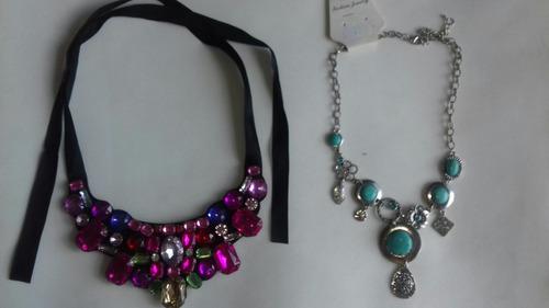 kit com 2 max colar bijuteria jóia pedras