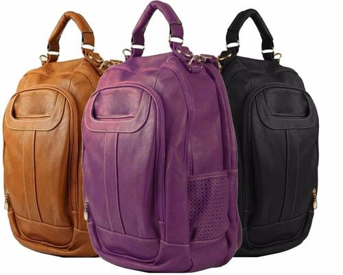 kit com 2 mochila bolsa feminina notebook couro varias cores