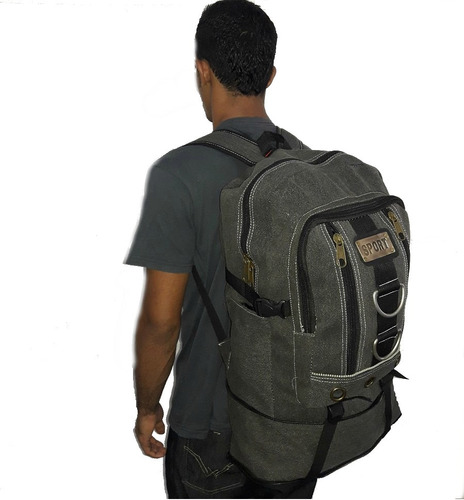 kit com 2 mochila escolar/camping lona forte 50l+4 brindes