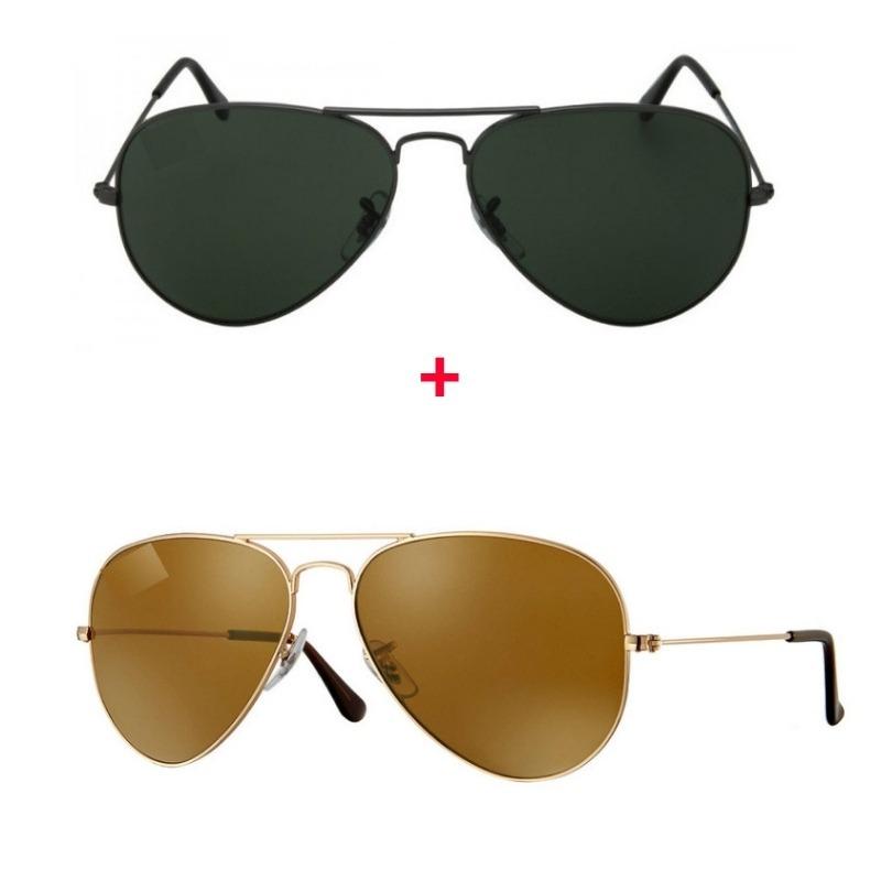 8b02c7a0ad21d Kit Com 2 Oculos De Sol Aviador Feminino E Masculino+brinde - R  129 ...