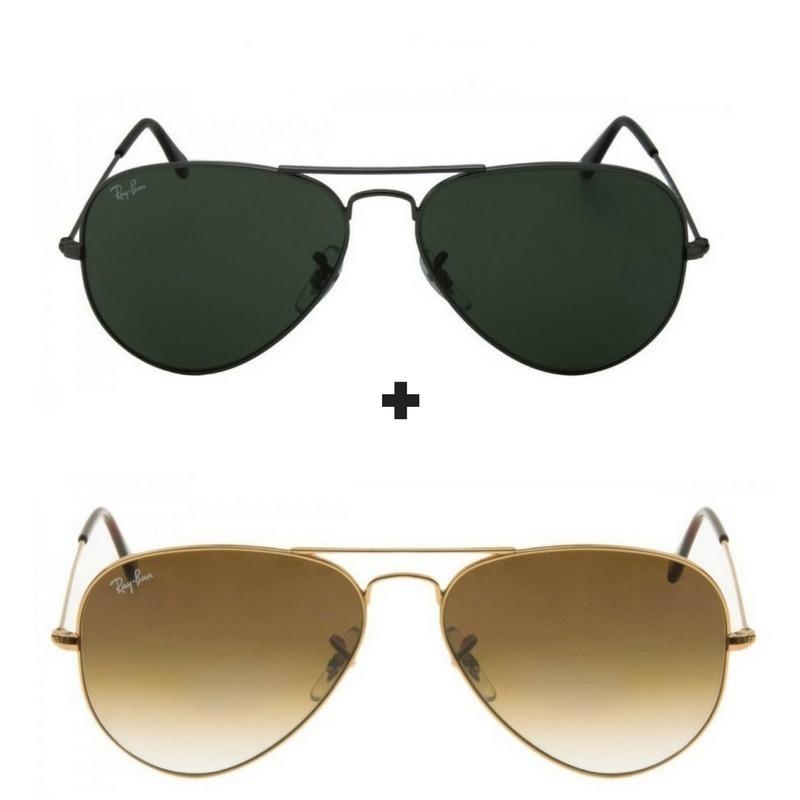 ce8eb9fd44651 Kit Com 2 Oculos De Sol Masculino feminino Aviador Escolha - R  356 ...
