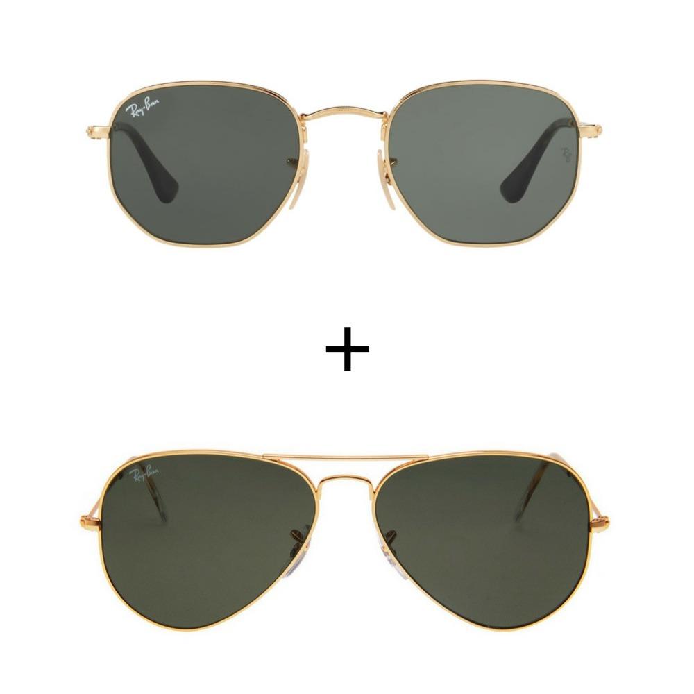 e4d257ee3 Kit Com 2 Oculos De Sol Ray-ban Feminino Masculino - R$ 249,99 em ...