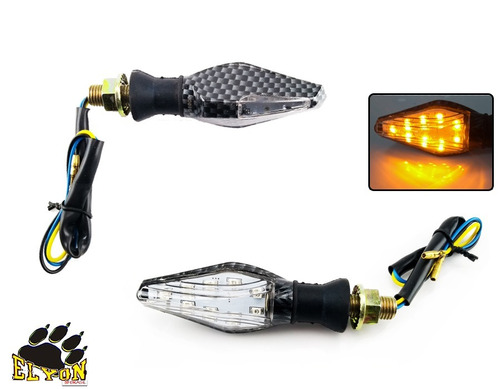 kit com 2 pisca moto seta led esportivo cafe 2 luzes carbono