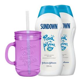 Kit Com 2 Protetor Solar Sundown Praia E Piscina Fps 30 350ml + Brinde Copo Lilas