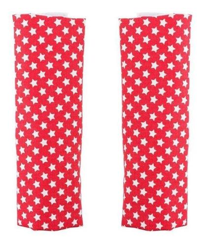 kit com 2 protetores para cinto infantil dupla face branco e vermelho material ultra macio seguranca para o bebe kababy.