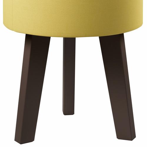 kit com 2 puff decorativo redondo pés palito - suede amarelo