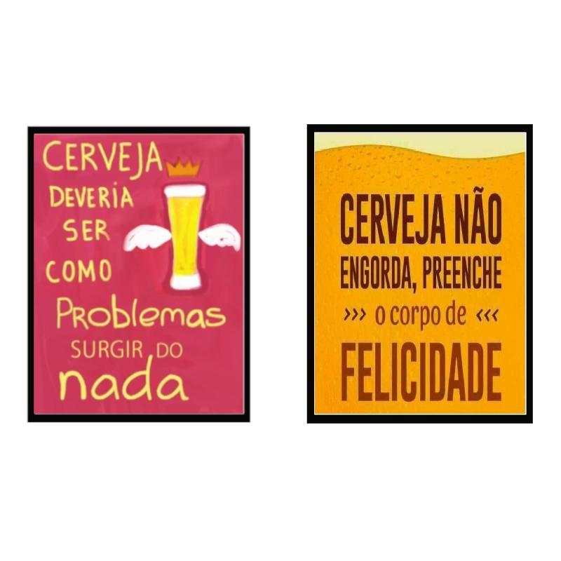 Kit Com 2 Quadros Decorativos Frases Cerveja Com Moldura E