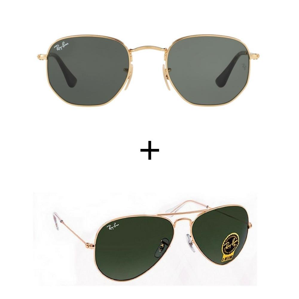 d21a1b7f5be1f Kit Com 2 Ray-ban Oculos De Sol Masculino Feminino Hoje - R  299