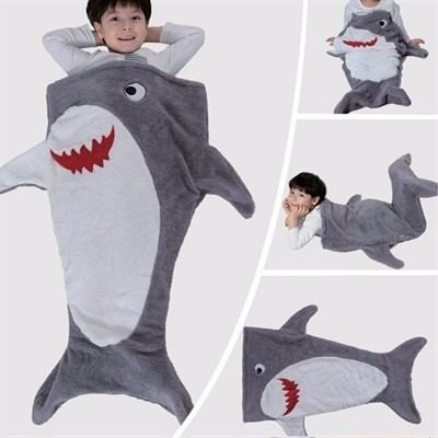 kit com 2 saco de dormir sereia tubarão ou baleia